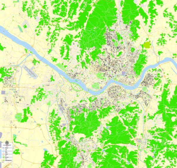 Seoul Printable Map, South Korea, exact vector City Plan 100 meters scale fully editable, Adobe Illustrator Street Map
