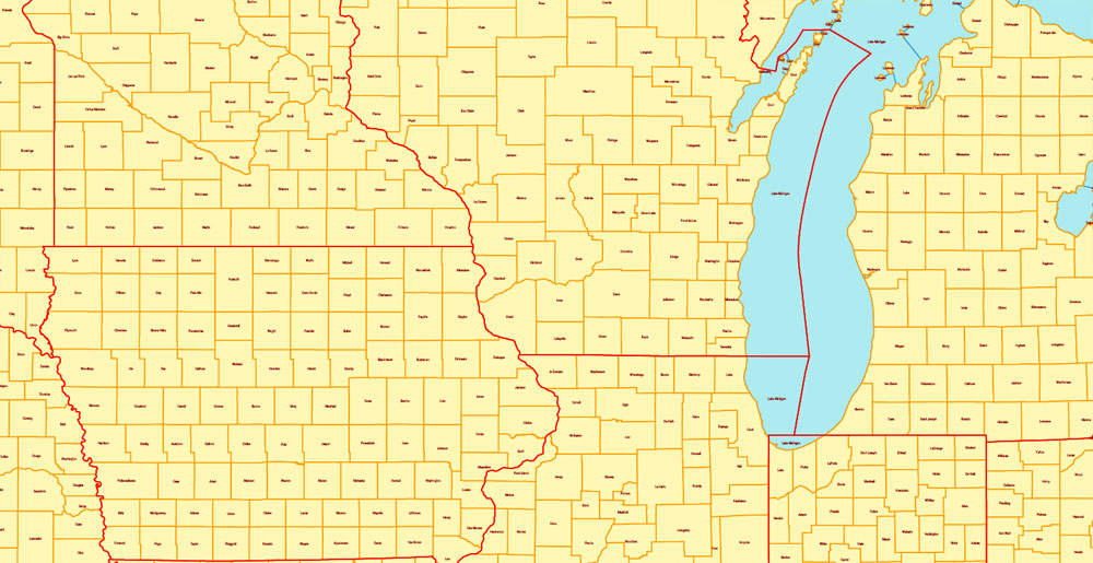 Pdf map US states counties all names PDF