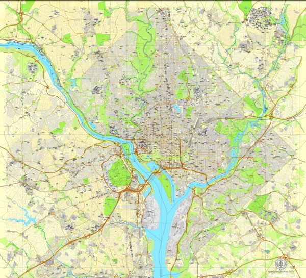 Printable Map Washington DC, US, exact vector street City Plan Layered map, V.12. fully editable, Adobe Illustrator