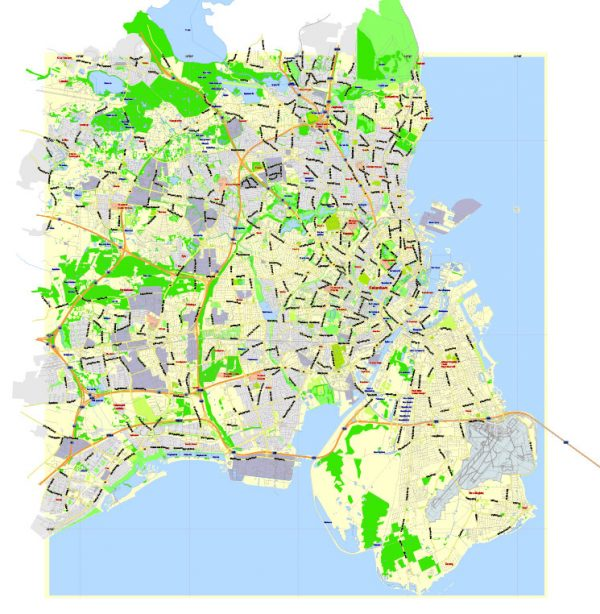 Printable Vector Map Copenhagen / København, Denmark, G-View level 13 (1000 m scale) street City Plan map, full editable, Adobe Illustrator