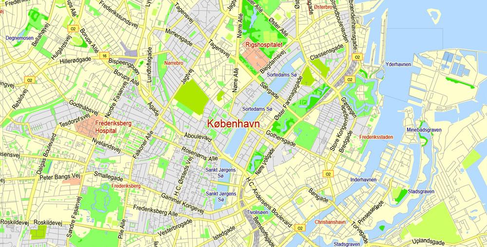 Street map Copenhagen Kobenhavn Denmark low