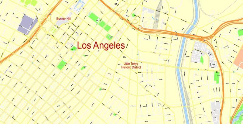 Printable Map Los Angeles, California, US, exact vector Map street G-View Plan V.3 full editable, Adobe Illustrator