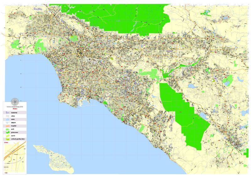 Printable Map Los Angeles Metro Area, California, US, exact vector Map street G-View Plan Level 13 (2000 meters scale) full editable, Adobe Illustrator