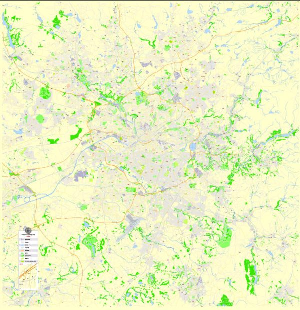 Printable Map Manchester, England, exact vector street map City Plan G-View Level 17 (100 m scale), fully editable, Adobe Illustrator