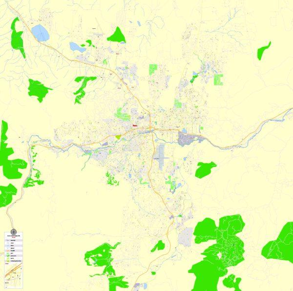 Printable Map Reno, Nevada, US, exact vector Map street G-View City Plan Level 17 (100 meters scale) full editable, Adobe Illustrator