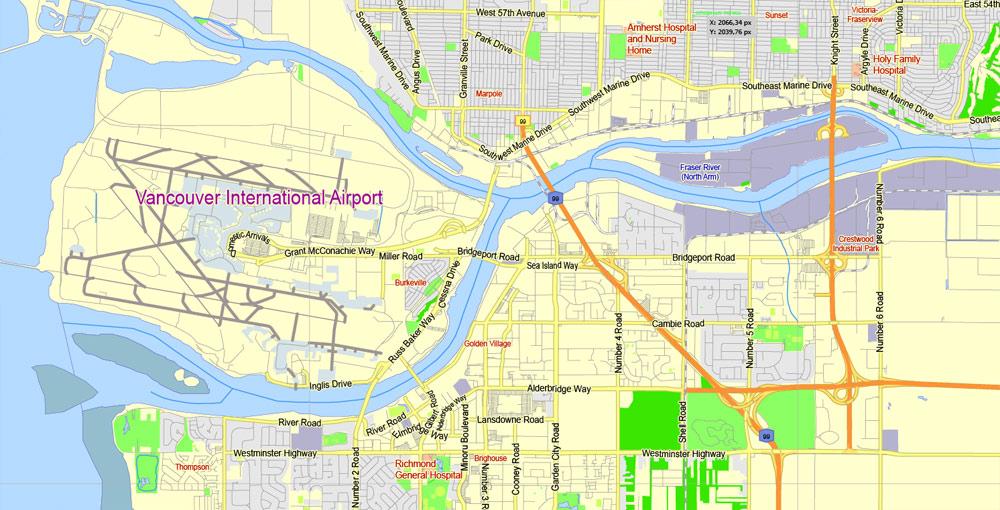 Street map Vancouver metro Canada