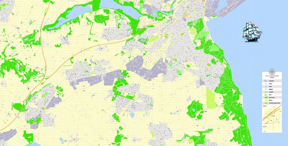 Aarhus Printable Vector Map, Denmark,  G-View level 17 (100 m scale) street City Plan map, full editable, Adobe Illustrator