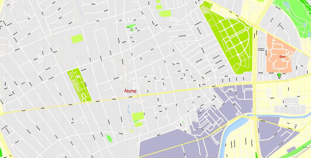 Printable Vector Map Aarhus, Denmark, G-View level 17 (100 m scale) street City Plan map, full editable, Adobe Illustrator