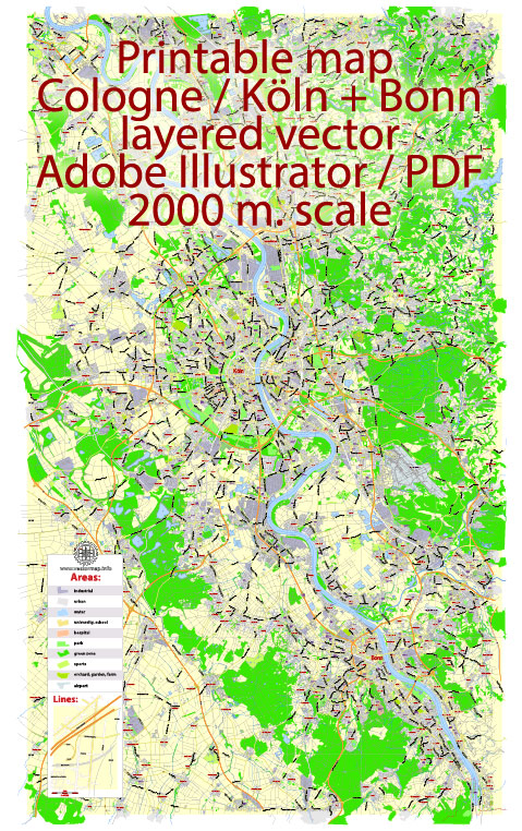 Printable Vector Map Cologne Köln + Bonn, Germany, G-View level 13 (2000 m scale) street City Plan map, full editable, Adobe Illustrator