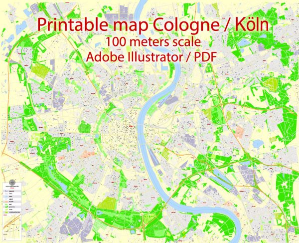 Printable Vector Map Cologne Köln, Germany, G-View level 17 (100 m scale) street City Plan map, full editable, Adobe Illustrator