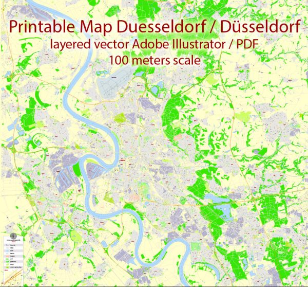 Printable Vector Map Dusseldorf, Germany, G-View level 17 (100 m scale) street City Plan map, full editable, Adobe Illustrator