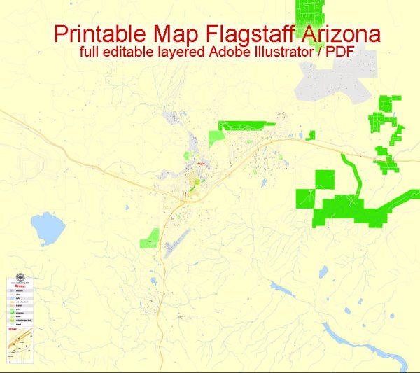 Printable Map Flagstaff, Arizona, US, exact vector Map street G-View City Plan Level 17 (100 meters scale) full editable, Adobe Illustrator