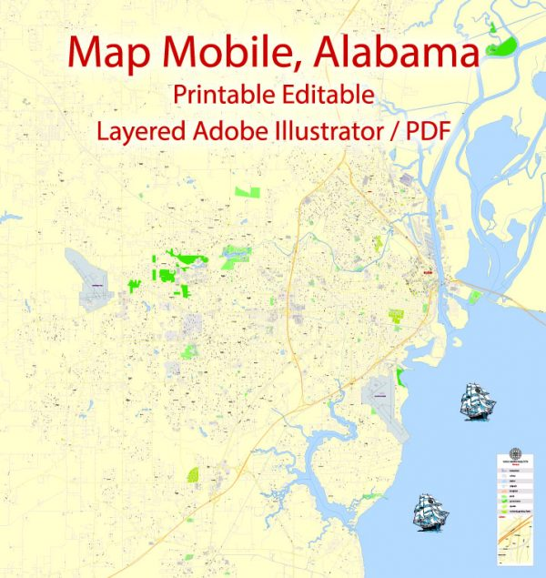 Printable Map Mobile, Alabama, US, exact vector Map street G-View City Plan Level 17 (100 meters scale) full editable, Adobe Illustrator