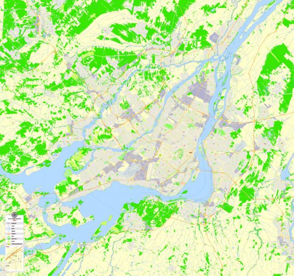 Printable Map Montreal, Canada, exact vector Map street G-View City Plan Level 17 (100 meters scale) full editable, Adobe Illustrator