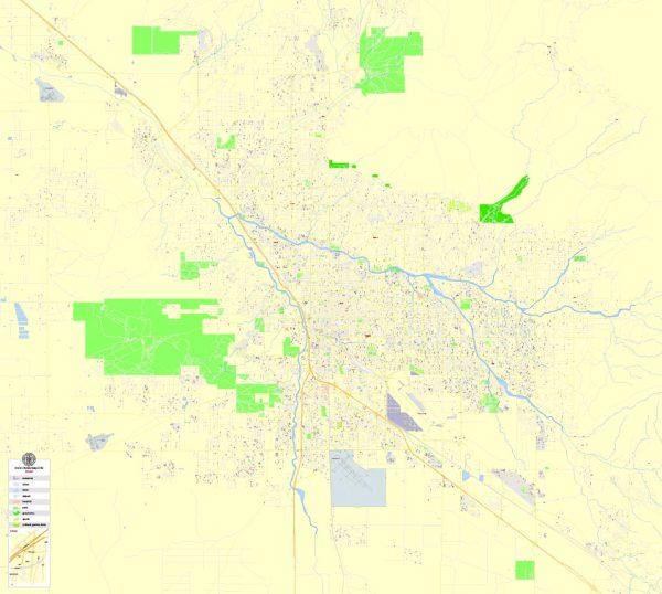Printable Map Tucson, Arizona, US, exact vector Map street G-View City Plan Level 17 (100 meters scale) full editable, Adobe Illustrator