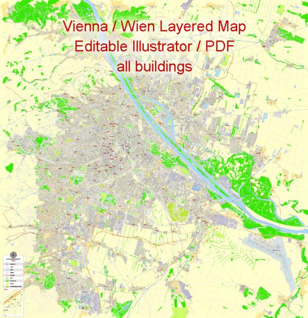 Printable Vector Map Vienna / Wien, Austria, G-View level 17 (100 m scale) street City Plan map with buildings, full editable, Adobe Illustrator