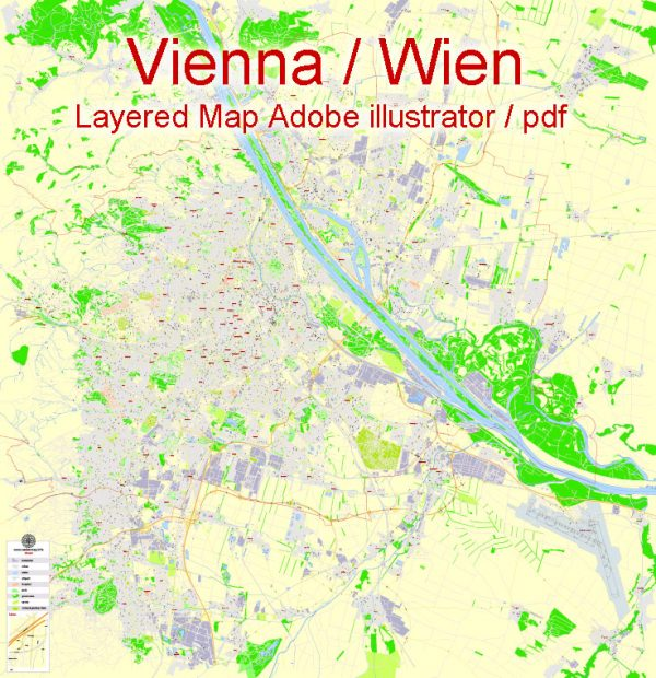Printable Vector Map Vienna / Wien, Austria, G-View level 17 (100 m scale) street City Plan map, full editable, Adobe Illustrator