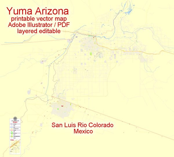 Printable Map Yuma, Arizona, US, exact vector Map street G-View City Plan Level 17 (100 meters scale) full editable, Adobe Illustrator