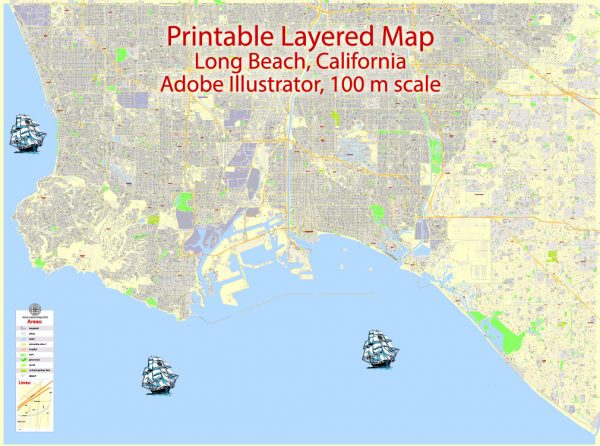 Printable Map Long Beach, California, US, exact vector Map street G-View City Plan Level 17 (100 meters scale) full editable, Adobe Illustrator