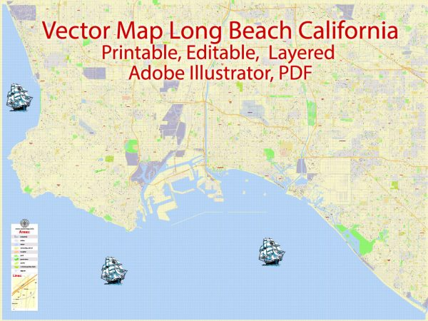 Printable Map Long Beach, California, US, exact vector Map G-View City Plan Level 17 (100 meters scale) full editable, Adobe Illustrator