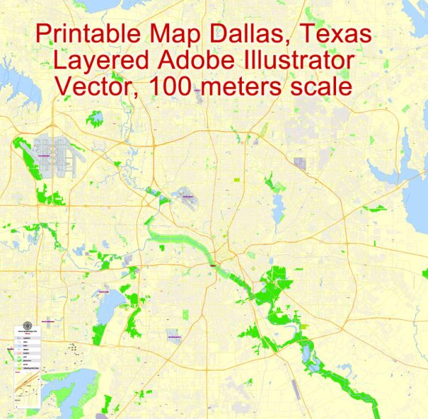 Printable Map Dallas, Texas, US, exact vector Map street G-View City Plan Level 17 (100 meters scale) full editable, Adobe Illustrator