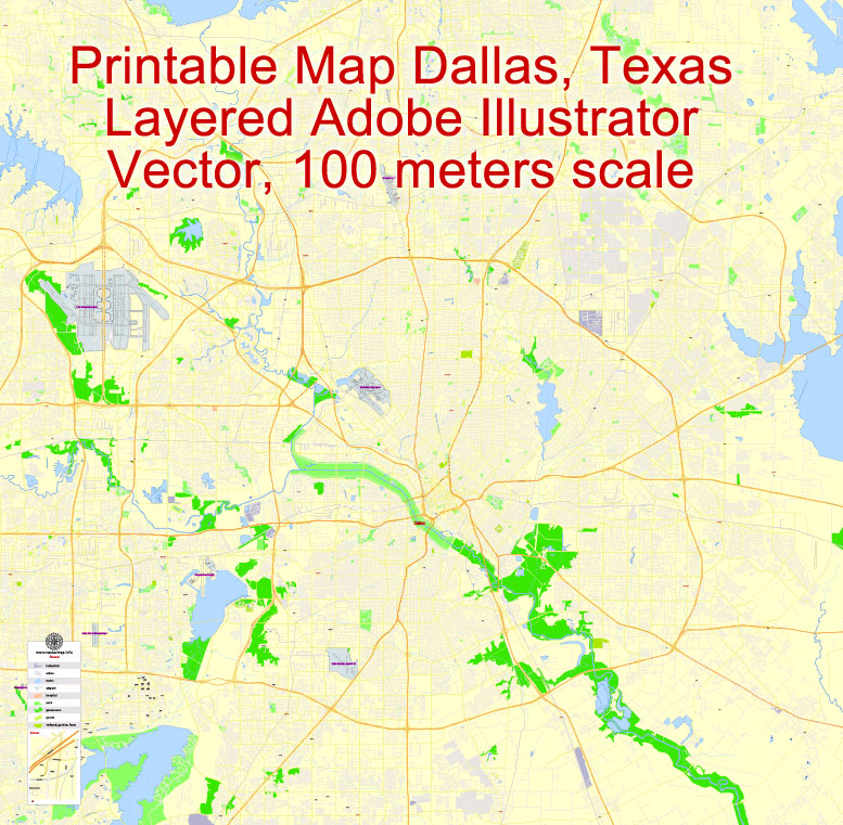 City map Dallas Texas