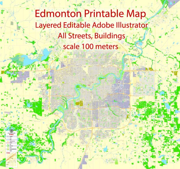 Printable Map Edmonton, Canada, exact max detailed Tactical Map City Plan Level G-View 17 (100 meters scale) full editable, Adobe Illustrator