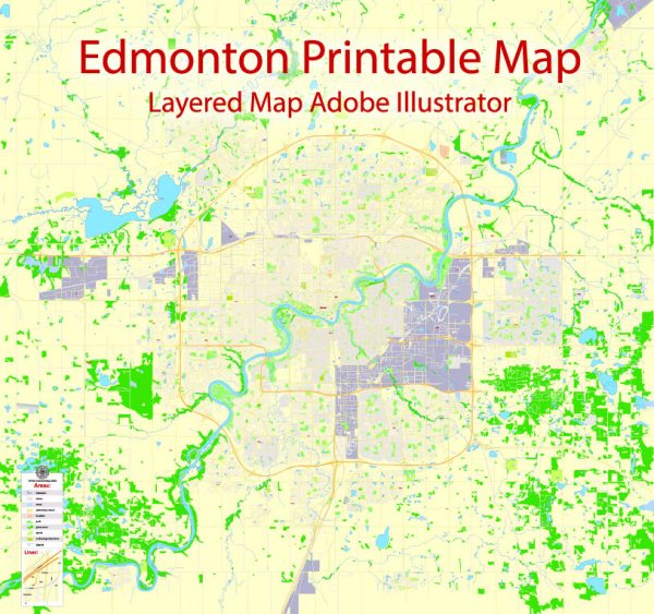 Printable Map Edmonton, Canada, exact Map City Plan Level G-View 17 (100 meters scale) full editable, Adobe Illustrator