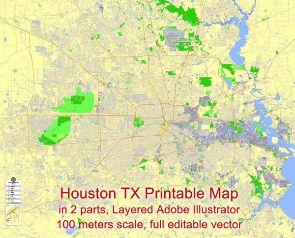 Printable Map Houston, Texas, US, exact vector Map street G-View City Plan Level 17 (100 meters scale) in 2 parts, full editable, Adobe Illustrator