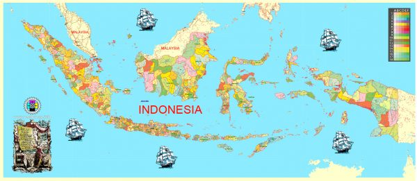 Printable Admin Map Indonesia, exact vector Map full editable Layered Adobe Illustrator, full vector, scalable, editable text format all names, 68 mb ZIP