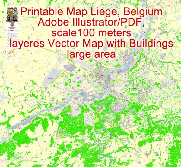 Printable Map Liege Grande Area, Belgium, exact vector street G-View Level 17 (100 meters scale) map ALL buildings, fully editable, Adobe Illustrator