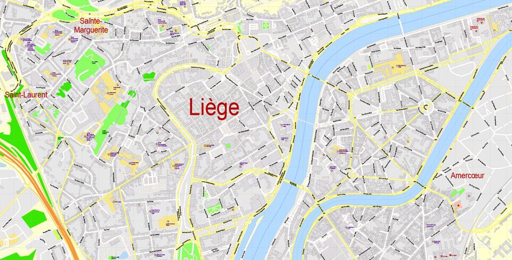 Street map Liege Belgium