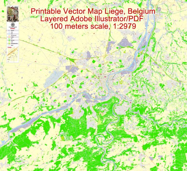 Printable Map Liege Grande Area, Belgium, exact vector street G-View Level 17 (100 meters scale) map, fully editable, Adobe Illustrator