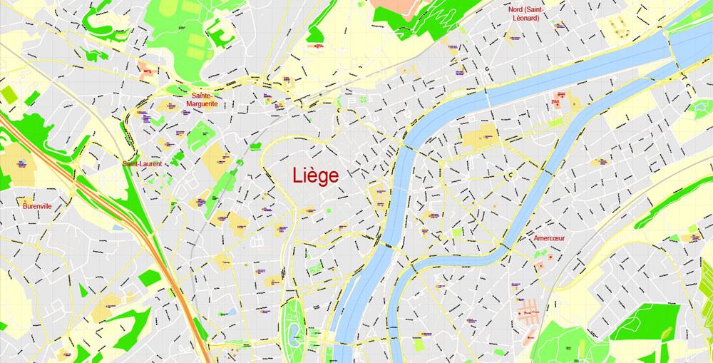 Street map Liege Belgium PDF 13