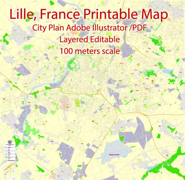 Printable Map Lille, France, exact vector street G-View Level 17 (100 meters scale) map, fully editable, Adobe Illustrator
