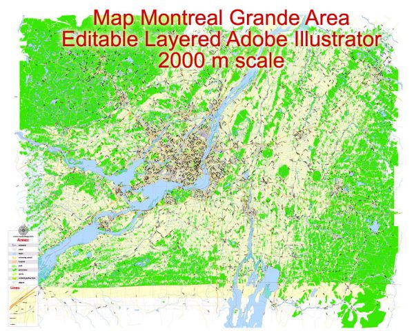 Printable Map Montreal Grande Area, Canada, exact vector Map street G-View City Plan Level 13 (2000 meters scale) full editable, Adobe Illustrator