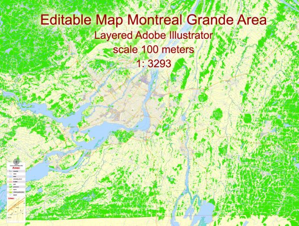 Printable Map Montreal Grande Area, Canada, exact vector Map street G-View City Plan Level 17 (100 meters scale 1:3293) full editable, Adobe Illustrator