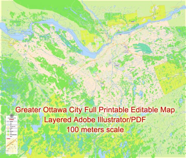 Printable Map Ottawa City Large Area, Canada, exact Map City Plan Level G-View 17 (100 meters scale) full editable, Adobe Illustrator