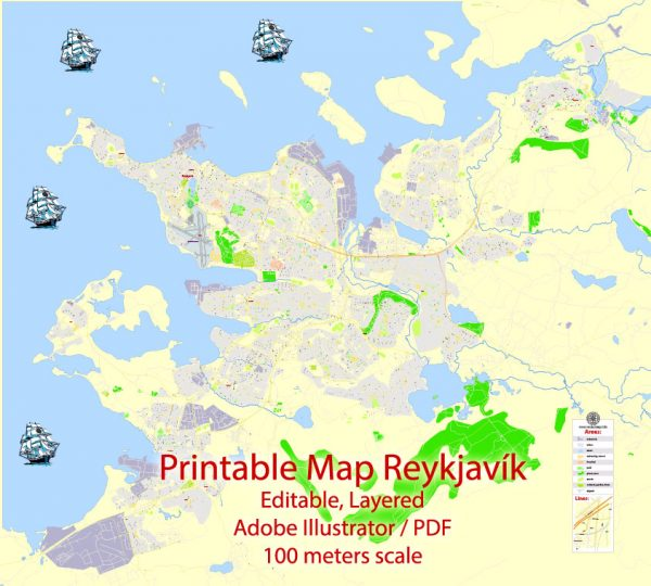 Printable Vector Map Reykjavik, Iceland, G-View level 17 (100 m scale) street City Plan map, full editable, Adobe Illustrator