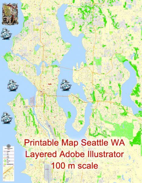 Printable Map Seattle, WA, US, exact vector Map street G-View City Plan Level 17 (100 meters scale), full editable, Adobe Illustrator