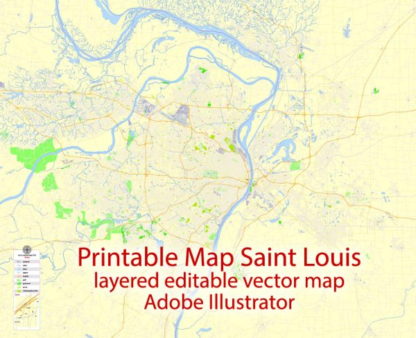Printable Map Saint Louis, Missouri, US, exact vector Map street G-View City Plan Level 17 (100 meters scale) full editable, Adobe Illustrator