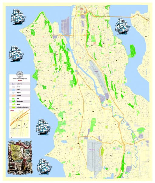 Free Printable Vector Map West Seattle WA, G-View level 17 (100 m scale) street City Plan map, full editable, Adobe Illustrator and PDF