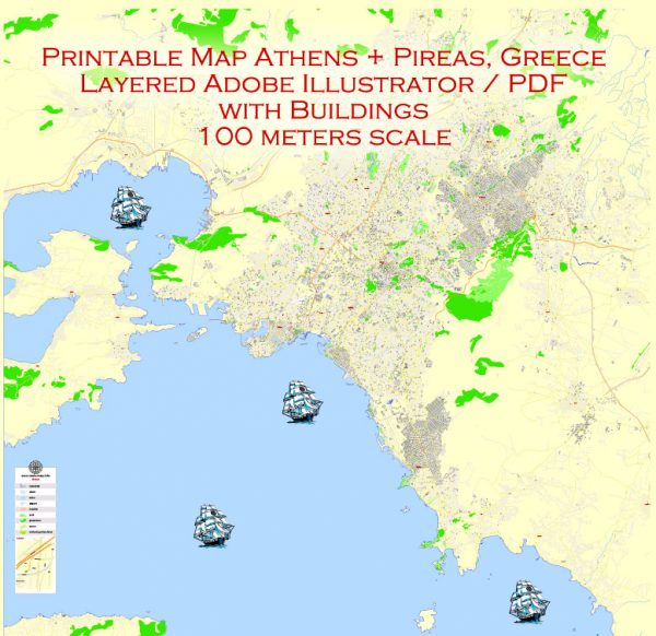 Printable Vector Map Athens + Pireas, Greece, exact City Plan with Buildings, street G-View Level 17 (100 meters scale) map English, fully editable, Adobe Illustrator