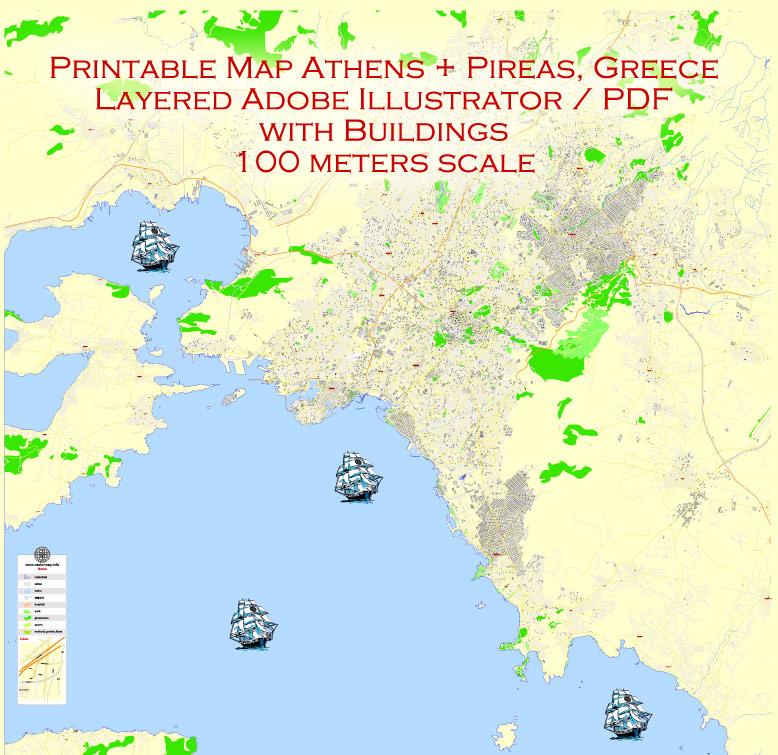 City map Athens Pireas Greece PDF