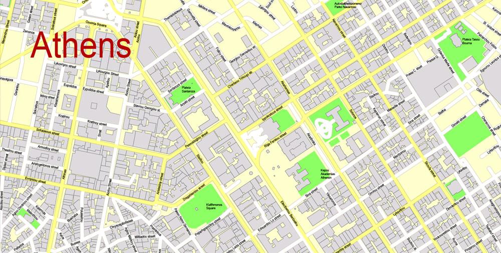 Street map Athens Greece ai