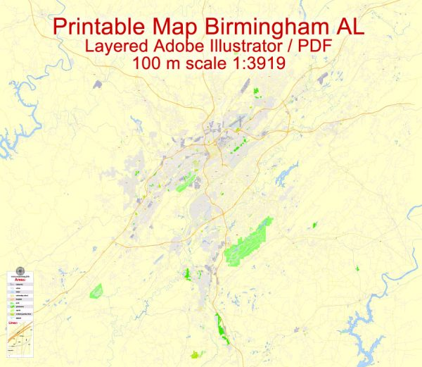 Printable Map Birmingham, Alabama, US, exact vector Map street G-View City Plan Level 17 (100 meters scale), full editable, Adobe Illustrator