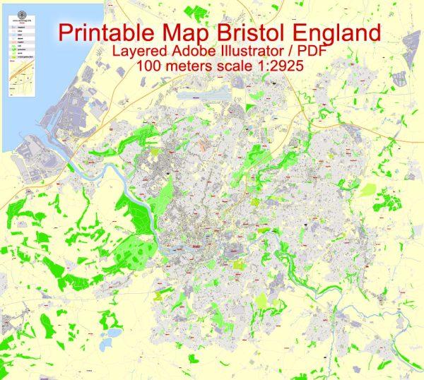 Printable Map Bristol Urban Area, England, exact vector street map City Plan G-View Level 17 (100 m scale), fully editable, Adobe Illustrator