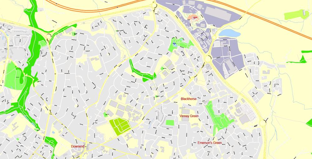 City map Bristol Urban Area UK