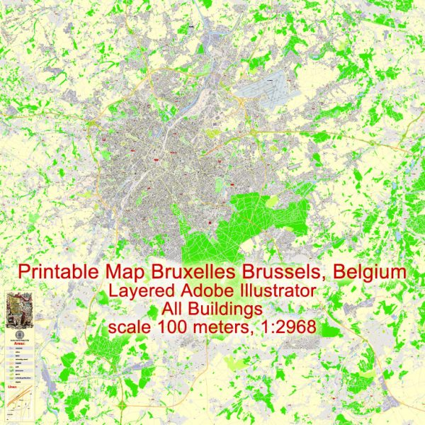 Printable Vector Map Bruxelles Brussels, Belgium, exact City Plan ALL Buildings, street G-View Level 17 (100 meters scale) map, fully editable, Adobe Illustrator