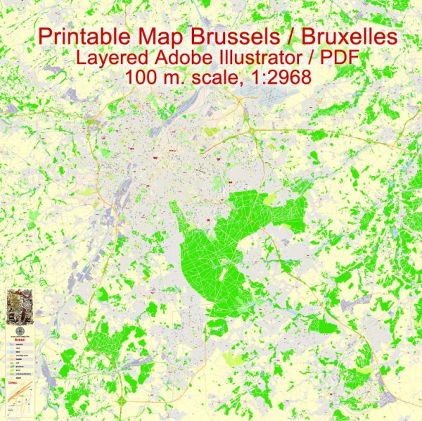 Printable Vector Map Bruxelles Brussels, Belgium, exact City Plan street G-View Level 17 (100 meters scale) map, fully editable, Adobe Illustrator